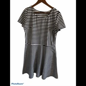Dex striped skater style black and white d…